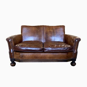 Small Vintage Leather Sofa, 1920s