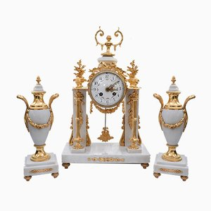 Antique Louis XVI Portico Clock Set, Set of 3