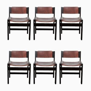 Ash Dining Chairs with Saddle Leather Upholstery, 1980s, Set of 6