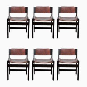 Eschenholz Esszimmerstühle mit Sattelleder, 1980er, 6er Set