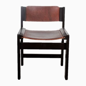 Ash Dining Chair with Saddle Leather Upholstery, 1980s