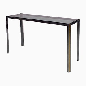Mid-Century Modern Brass and Glass Entrance Console Table, 1970s
