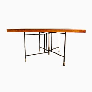 Vintage Italian Coffee Table in Iron, Brass & Walnut, 1950s