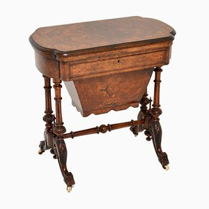 Antique Victorian Burr Walnut Games & Worktable