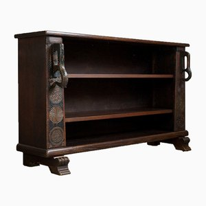 Half-Height Bookshelf with Handles & Round Ornaments