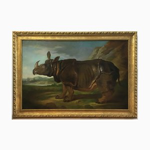 Italian Rhinoceros Animal Oil on Canvas Painting by Angelo Granati, 2015