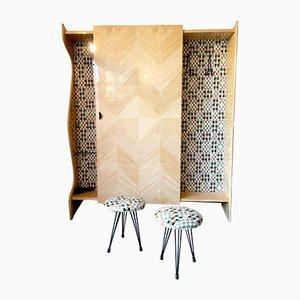 Mobiletto da ingresso Mid-Century con sgabelli nello stile di Osvaldo Borsani, anni '50, set di 3