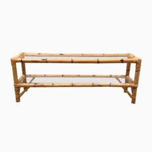 Table Basse et Longue Vintage en Bambou 2 Dessus Transparents en Verre
