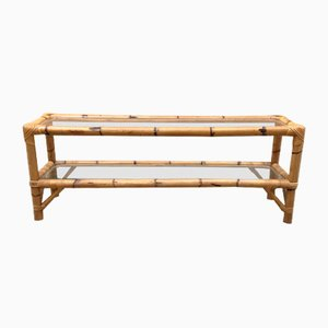 Vintage Low and Long Bamboo Coffee Table 2 Transparent Glass Tops
