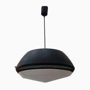 Lampe à Suspension en Métal Émaillé Noir par Gio Ponti pour Greco, Italie, 1950s