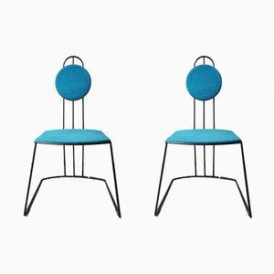 Struttura geometrica in tondino di ferro nero e sedute in tessuto di cotone blu, anni '60, set di 2