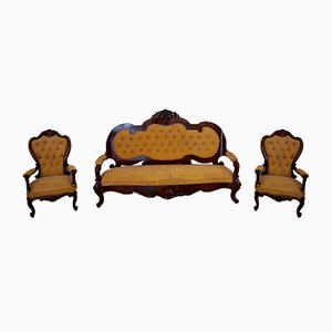 19th Century Italian Rosewood Sofa & Armchairs, Set of 3