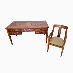 Italian Louis XVI Style Bank Desk & Bench, 1920s, Set of 2