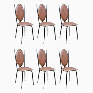 Vinyl & Stahl Esszimmerstühle von Umberto Mascagni, 1950er, 6er Set