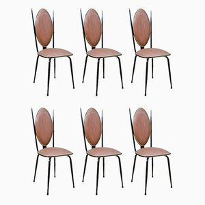 Vinyl & Steel Dining Chairs by Umberto Mascagni, 1950s, Set of 6