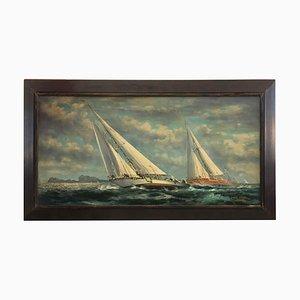 Huile Sailing Boat on Canvas Painting par John Stevens, Italie, 2006