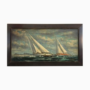 Italian Sailing Boat Oil on Canvas Painting by John Stevens, 2006