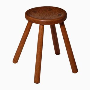 French Oak Stool, 1950s