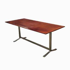Mid-Century Italian Desk Table from Formanova with Wooden Top and Steel Base, 1970s
