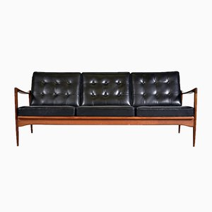 Mid-Century Teak & Black Leather Kandidaten Sofa by Ib Kofod Larsen for OPE, 1960s