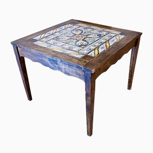 Vintage Italian Tiled Dining Table with Antique Italian Maioliche, 1990s