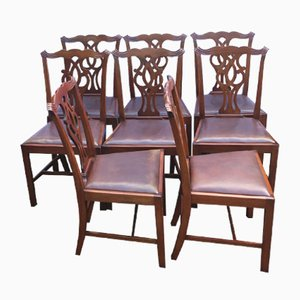 Mahogany Pop Out Leather Seat Dining Chairs, 1900s, Set of 8