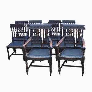 Antique Carved Dark Oak Pop Out Seat Dining Chairs, 1910s, Set of 10
