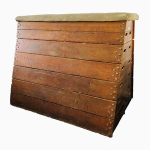 Vintage Suede Vaulting Bench Box by Niels Larsen for Niels Larsen & Son, 1950s