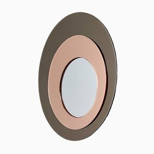 Round Wall Mirror with Bronze and Rose Mirrored Frame from Rimadesio, 1970s