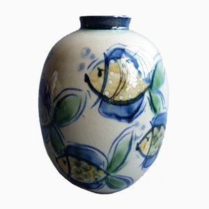 Hand-Painted Ceramic Vase by V.Heintz, 1950s