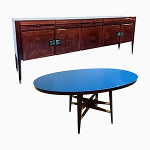 Juego de salón italiano de comedor y mesa de comedor Mid-Century de Silvio Cavatorta, años 50. Juego de 2