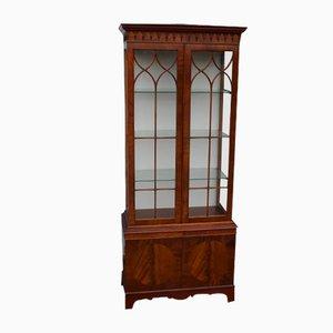 2-Door Glass Cabinet with 3 Glass Shelves, 1980s