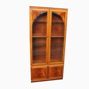 2-Door Glass Cabinet with Shelves and Shaped Glass Doors, 1980s