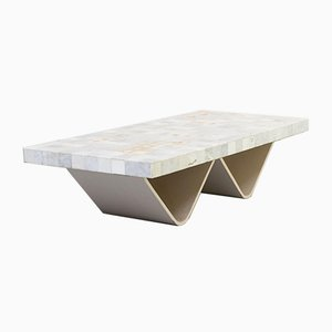 Tavolino da caffè bianco di Carrara con piastrelle, anni '60