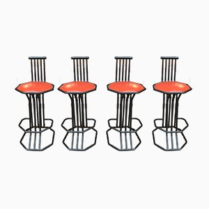 Tubular Metal Bar Stools with Black Lacquer & Faux Leather, 1970s, Set of 4