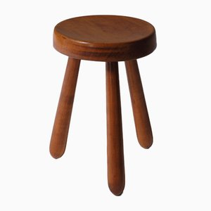 Mid-Century French Modern Solid Elm Stool