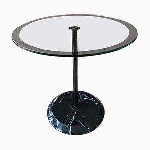 Tavolino rotondo in marmo e vetro di Vico Magistretti per Cattelan Italia, anni '80