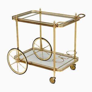 Mid-Century Italian Drinks Trolley in Brass, 1960s