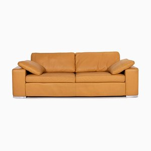 Camel Brown Leather Conseta 3-Seat Sofa from Cor