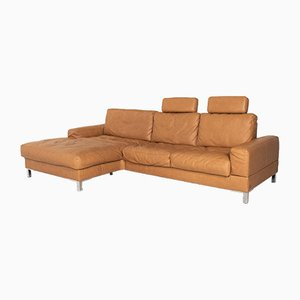 Camel Brown Leather Corner Sofa from Musterring