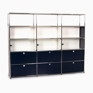 Blue and White Metal & Glass Sideboard Office Furniture from USM Haller