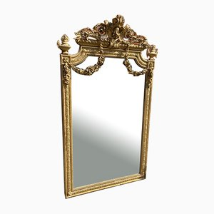 Large Antique French Carved Wood & Gesso Shaped Top Gilt Mirror