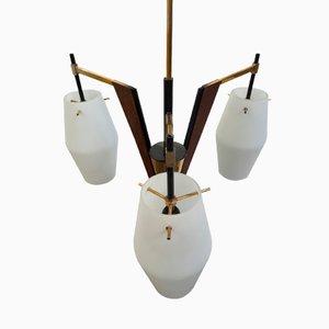 Lámpara colgante italiana de teca y latón