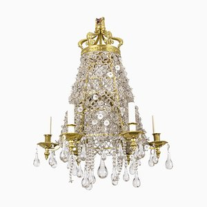 Chandelier in Crystal and Gilt Bronze, 1880s