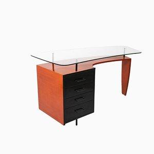 Schreibtisch aus schwarz und orange lackiertem Holz, 1950er