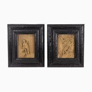 Petites Photos Sculptées, 1880s, Set de 2