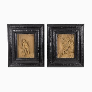 Small Sculpted Pictures, 1880s, Set of 2