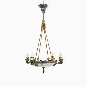 Art Deco Alabaster 4-Arm Pendant Lamp