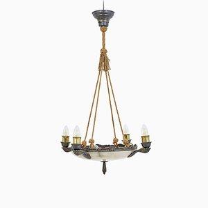 Art Deco Alabaster 4-Arm Pendant Lamp