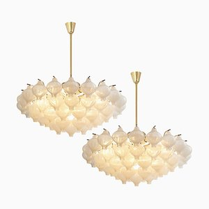 Glass and Brass Tulip Flush Mount Chandelier by J.T. Kalmar, 1970s